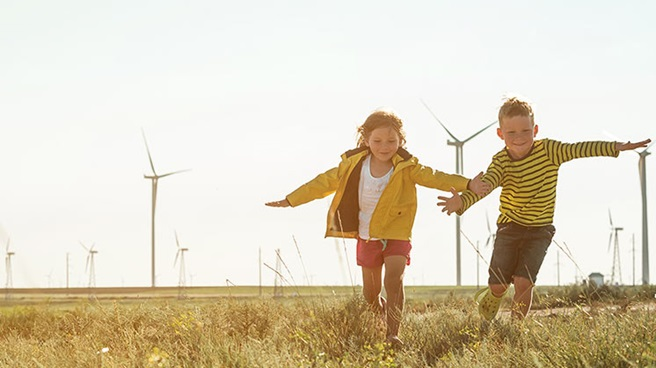 Kids on wind farm