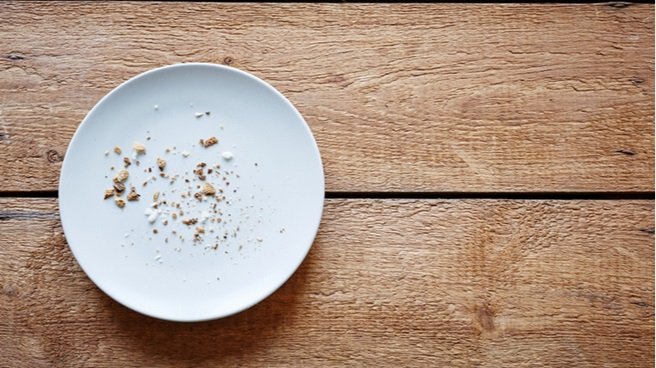 Breadcrumbs on a plate