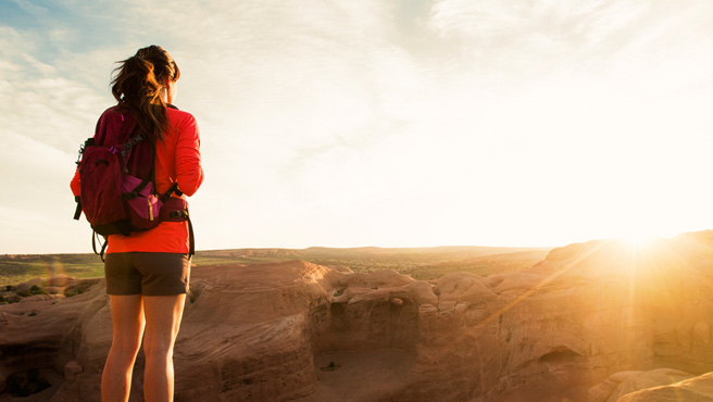 Female hiker looking at horizon